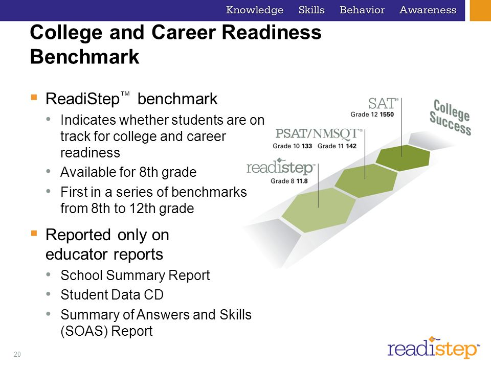 20 College and Career Readiness Benchmark ReadiStep benchmark Indicates whether students are on track for college and career readiness Available for 8