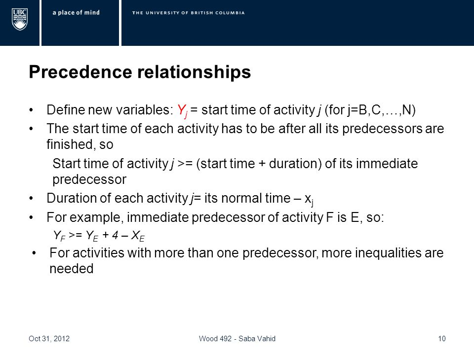 Precedence relationships Define new variables: Y j = start time of activity j (for j=B,C,…,N) The start time of each activity has to be after all its