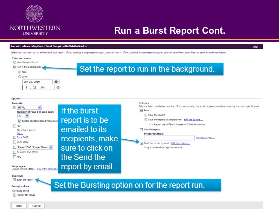 Run a Burst Report Cont. Set the report to run in the background.