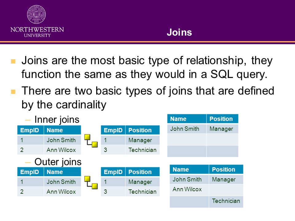 Joins Joins are the most basic type of relationship, they function the same as they would in a SQL query.