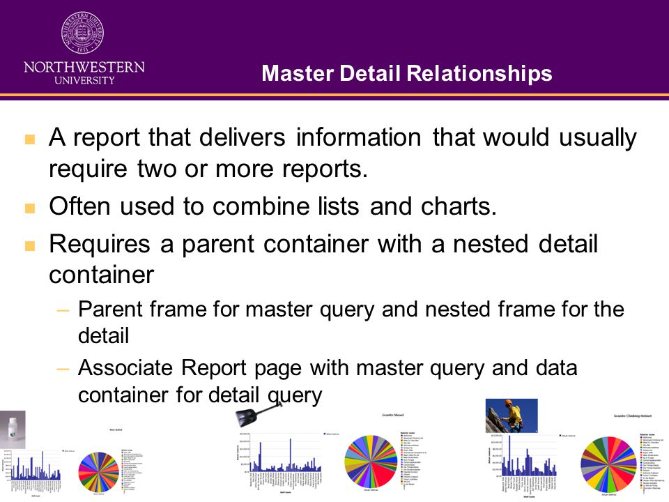 Master Detail Relationships A report that delivers information that would usually require two or more reports.