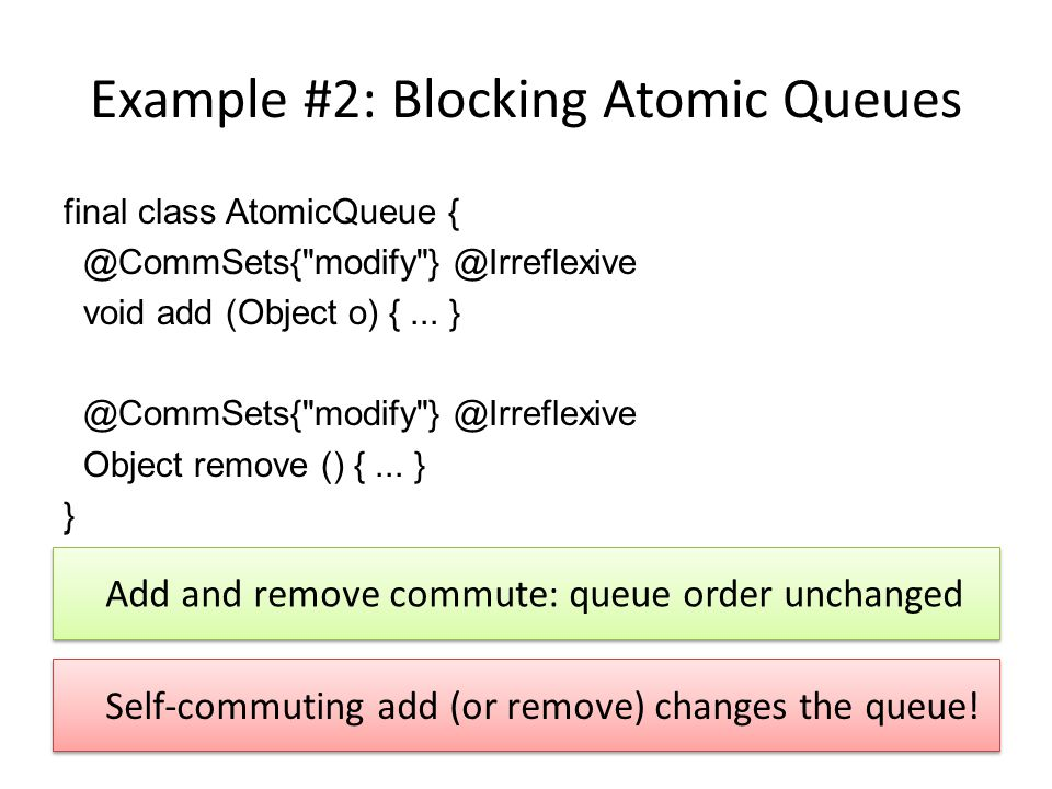 Example #2: Blocking Atomic Queues final class AtomicQueue { @CommSets{ modify } @Irreflexive void add (Object o) {...