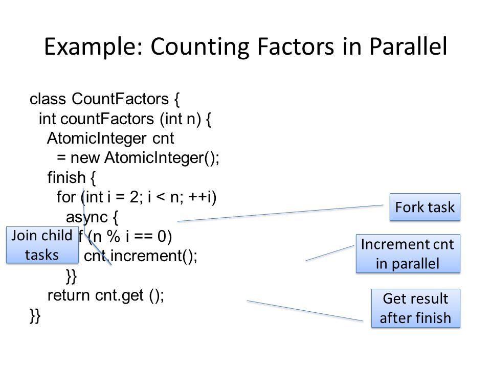 Example: Counting Factors in Parallel class CountFactors { int countFactors (int n) { AtomicInteger cnt = new AtomicInteger(); finish { for (int i = 2; i < n; ++i) async { if (n % i == 0) cnt.increment(); }} return cnt.get (); }} Fork task Join child tasks Increment cnt in parallel Get result after finish