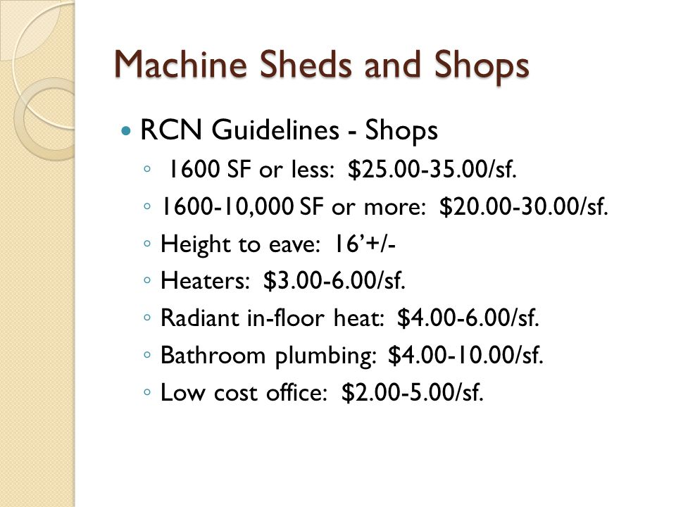 Machine Sheds and Shops RCN Guidelines - Shops 1600 SF or less: $25.00-35.00/sf.