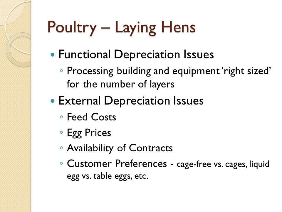 Poultry – Laying Hens Functional Depreciation Issues Processing building and equipment right sized for the number of layers External Depreciation Issu