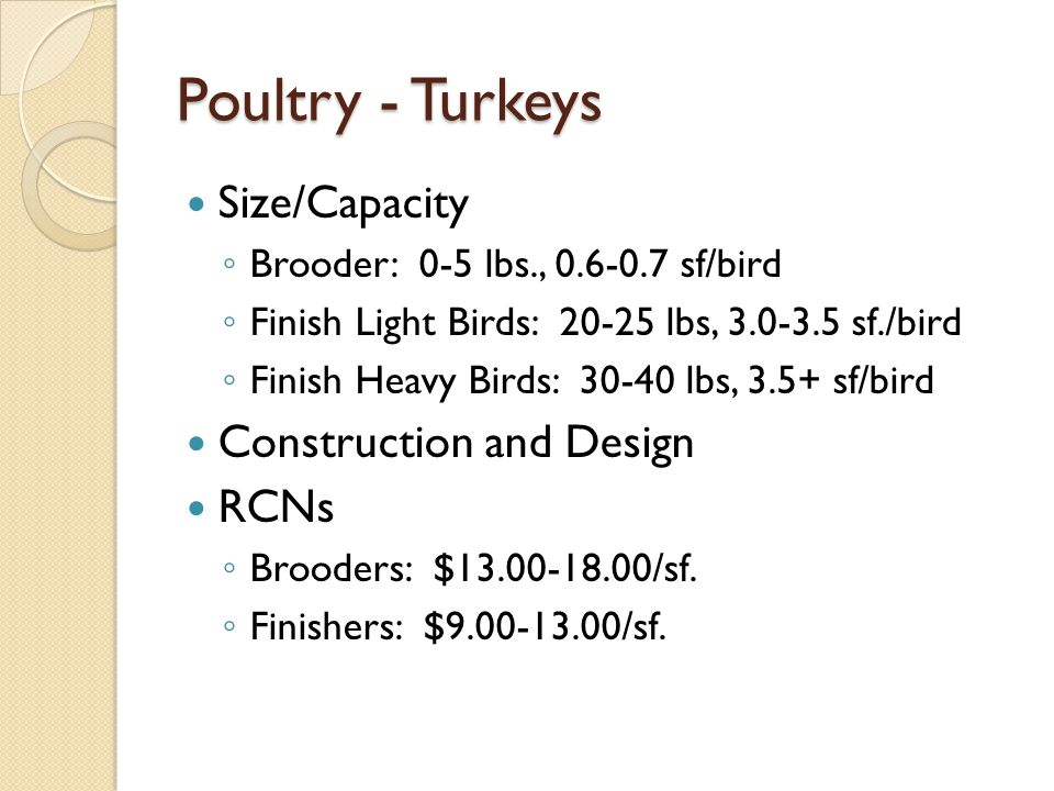 Poultry - Turkeys Size/Capacity Brooder: 0-5 lbs., 0.6-0.7 sf/bird Finish Light Birds: 20-25 lbs, 3.0-3.5 sf./bird Finish Heavy Birds: 30-40 lbs, 3.5+