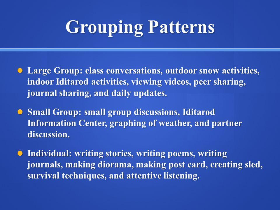 Grouping Patterns Large Group: class conversations, outdoor snow activities, indoor Iditarod activities, viewing videos, peer sharing, journal sharing