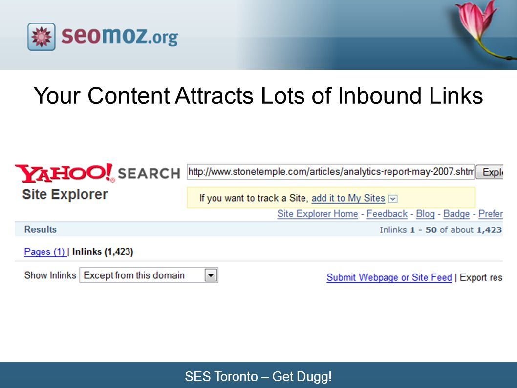SES Toronto – Get Dugg! Your Content Attracts Lots of Inbound Links