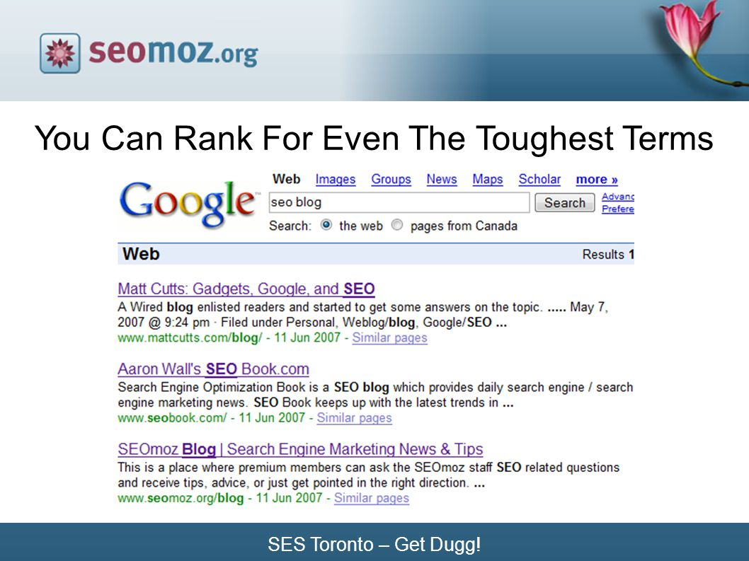 SES Toronto – Get Dugg! You Can Rank For Even The Toughest Terms