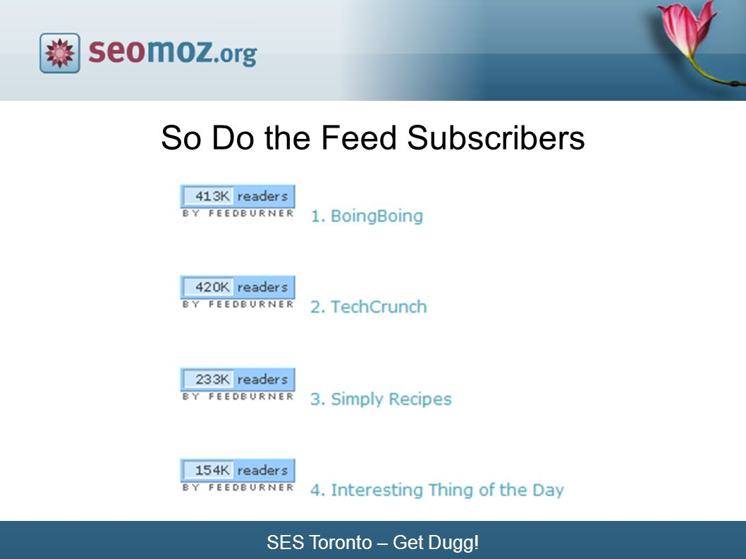 SES Toronto – Get Dugg! So Do the Feed Subscribers