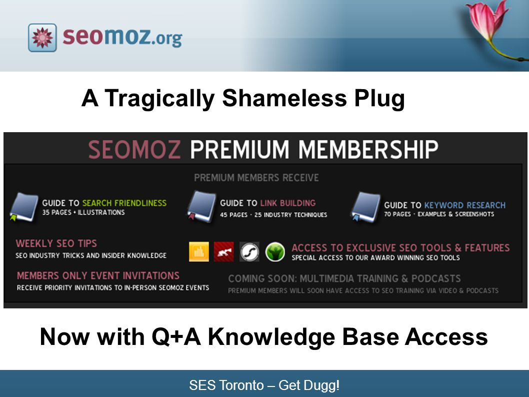 A Tragically Shameless Plug Now with Q+A Knowledge Base Access SES Toronto – Get Dugg!