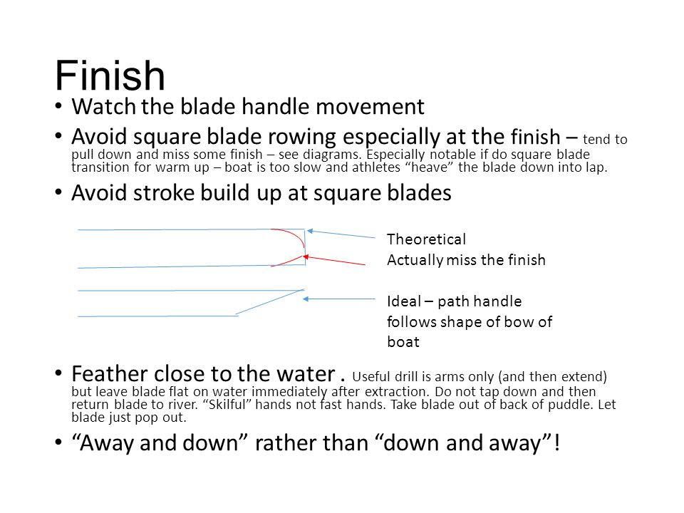 Finish Watch the blade handle movement Avoid square blade rowing especially at the finish – tend to pull down and miss some finish – see diagrams. Esp