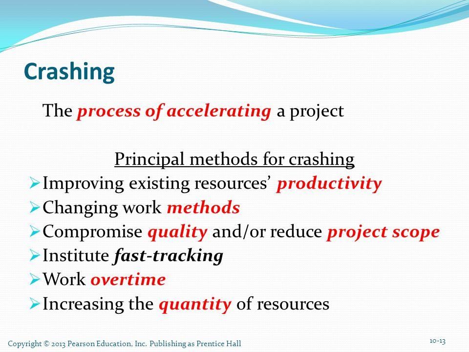 Crashing The process of accelerating a project Principal methods for crashing Improving existing resources productivity Changing work methods Compromi
