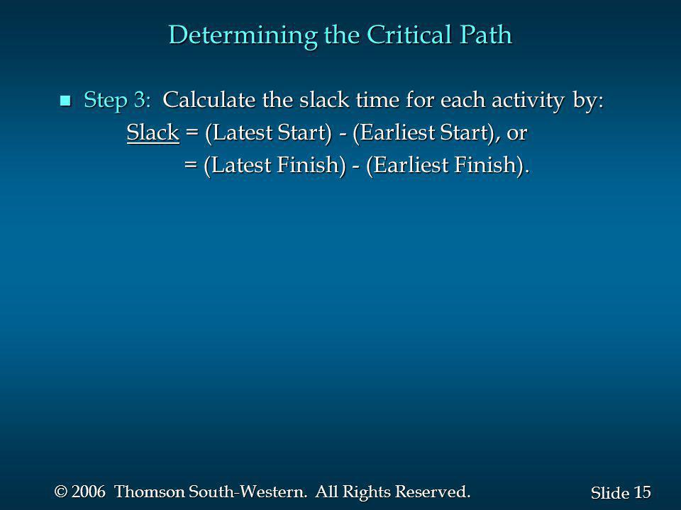 15 Slide © 2006 Thomson South-Western. All Rights Reserved. Determining the Critical Path n Step 3: Calculate the slack time for each activity by: Sla