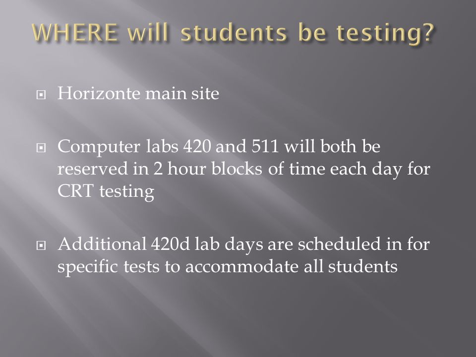 Students have to finish the test----they have to complete any open section of a test that day.