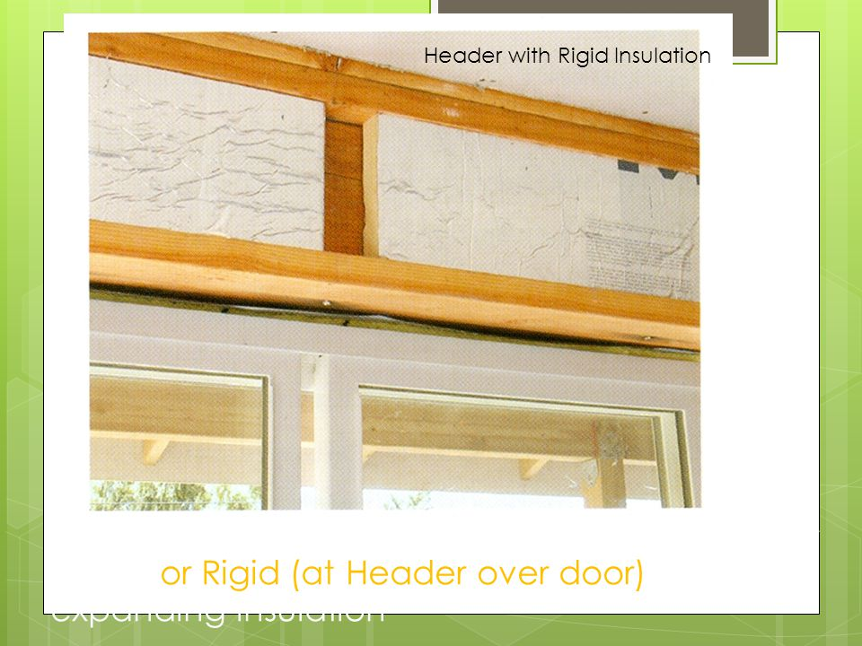 * energy saving Types of Insulation Material : Batts or blankets or blown or Rigid (at Header over door) or foam expanding insulation Header with Rigi