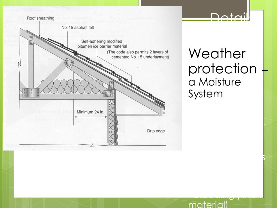 * Details Weather protection – a Moisture System insulation (& V.B. vapor barriers) sheathing weather barriers Venting Flashing Cladding (finish mater