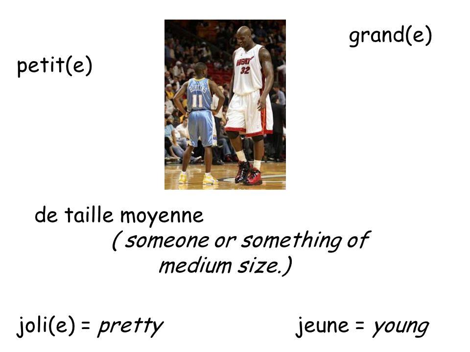 grand(e) petit(e) de taille moyenne ( someone or something of medium size.) joli(e) = pretty jeune = young
