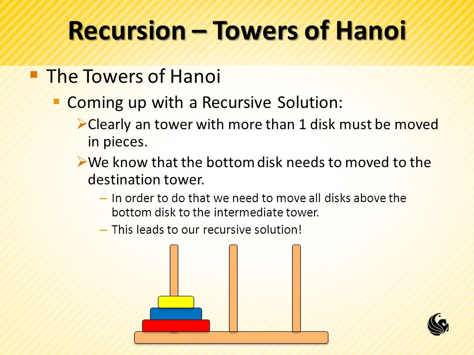 Recursion – Towers of Hanoi The Towers of Hanoi Coming up with a Recursive Solution: Clearly an tower with more than 1 disk must be moved in pieces.
