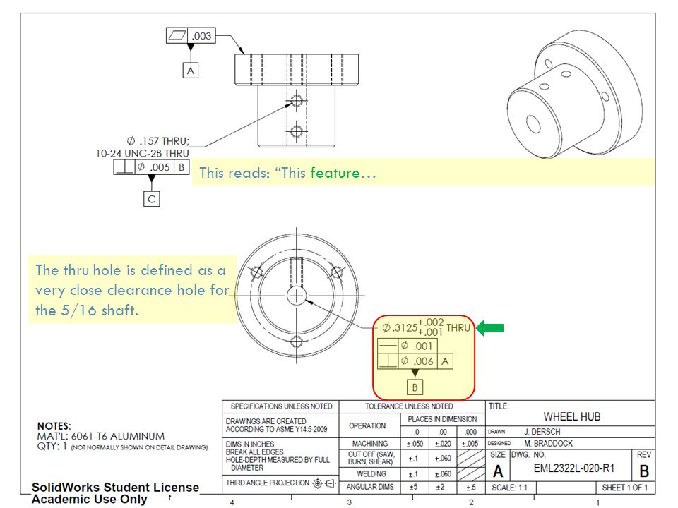This reads: This feature… The thru hole is defined as a very close clearance hole for the 5/16 shaft.