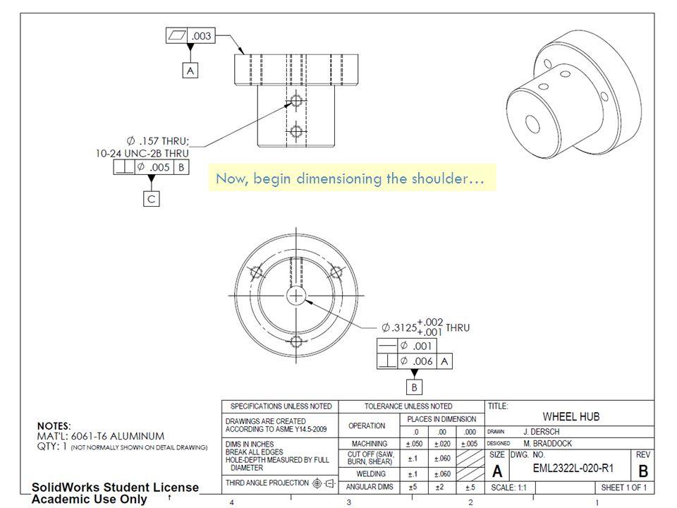 Now, begin dimensioning the shoulder…
