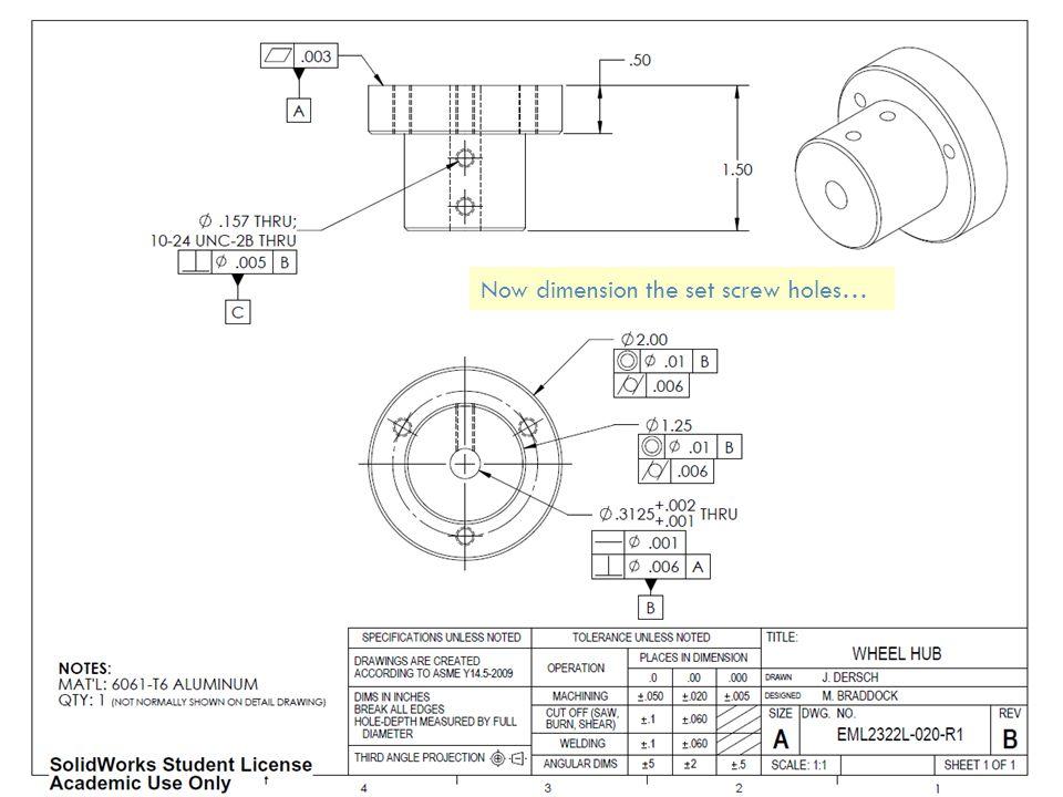 Now dimension the set screw holes…