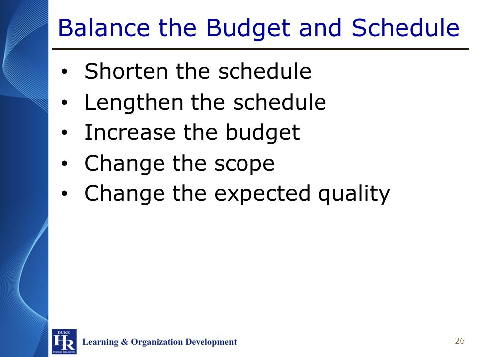 Balance the Budget and Schedule 26 Shorten the schedule Lengthen the schedule Increase the budget Change the scope Change the expected quality