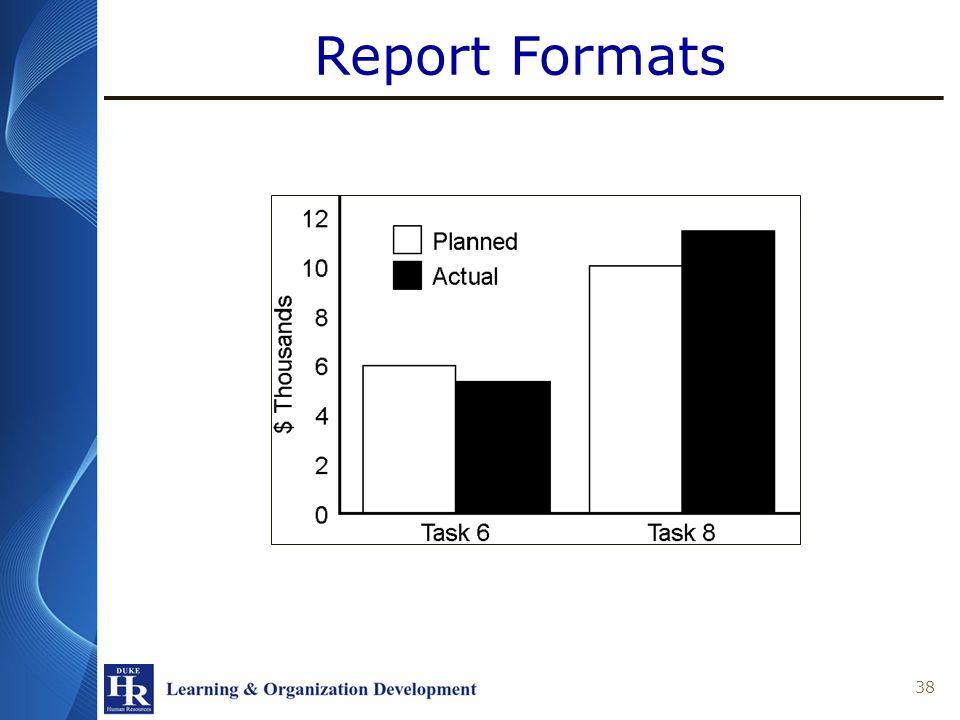 Report Formats 38