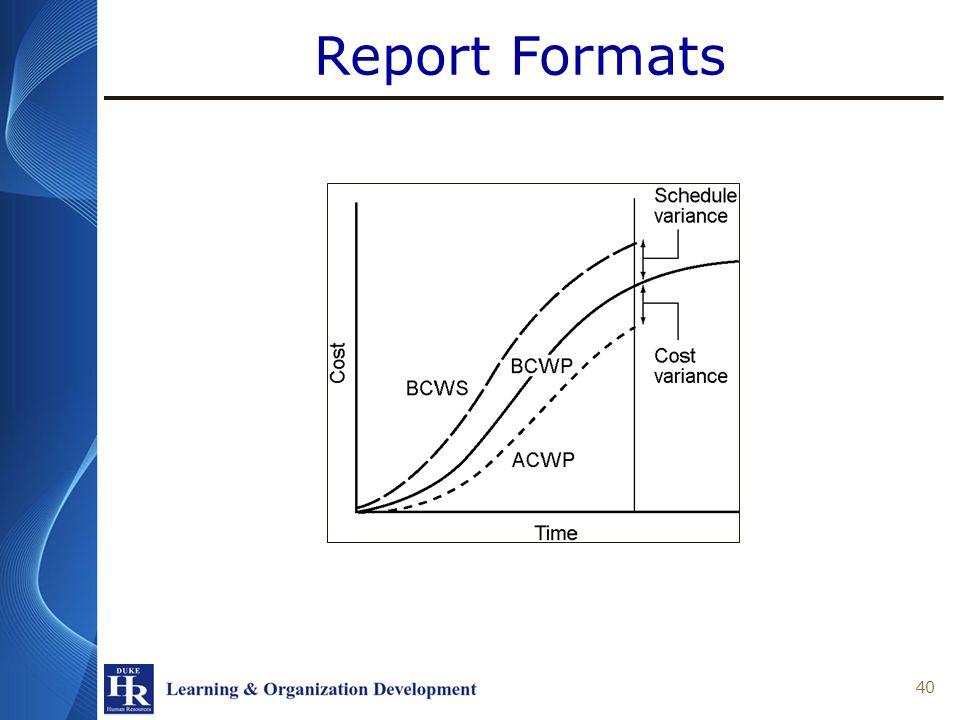 Report Formats 40