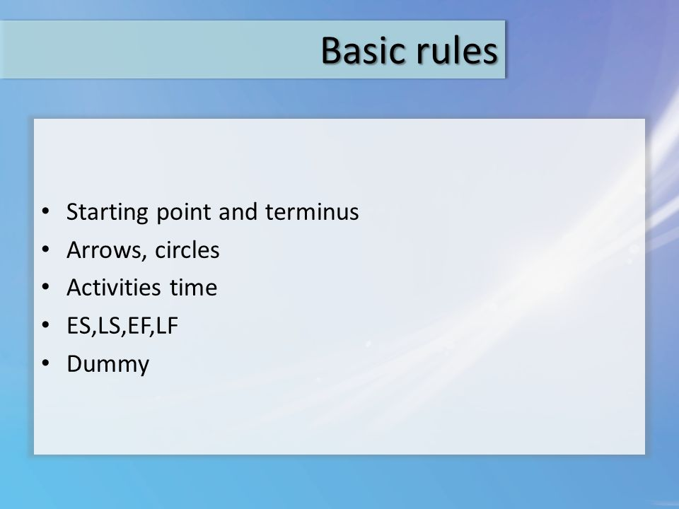 Basic rules Starting point and terminus Arrows, circles Activities time ES,LS,EF,LF Dummy