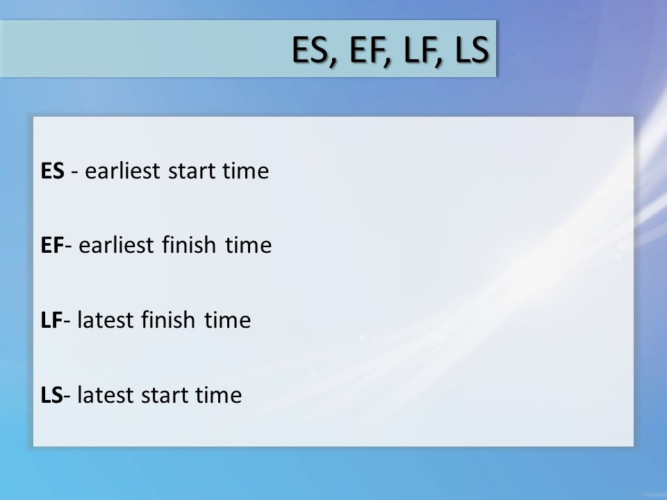 ES, EF, LF, LS ES - earliest start time EF- earliest finish time LF- latest finish time LS- latest start time