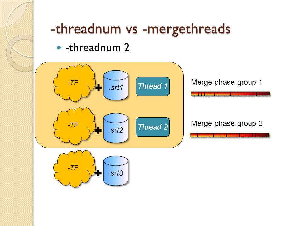 -threadnum vs -mergethreads -threadnum 2 -TF.srt1 -TF.srt2 -TF.srt3 Thread 1 Thread 2 Merge phase group 2 Merge phase group 1