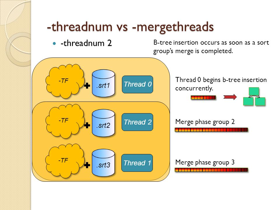 -threadnum vs -mergethreads -threadnum 2 -TF.srt1 -TF.srt2 -TF.srt3 Thread 2 Thread 1 Merge phase group 2 Merge phase group 3 Thread 0 B-tree insertion occurs as soon as a sort groups merge is completed.