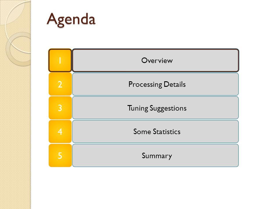 Agenda 1 Summary Overview Tuning Suggestions Some Statistics 2 3 4 Processing Details 5