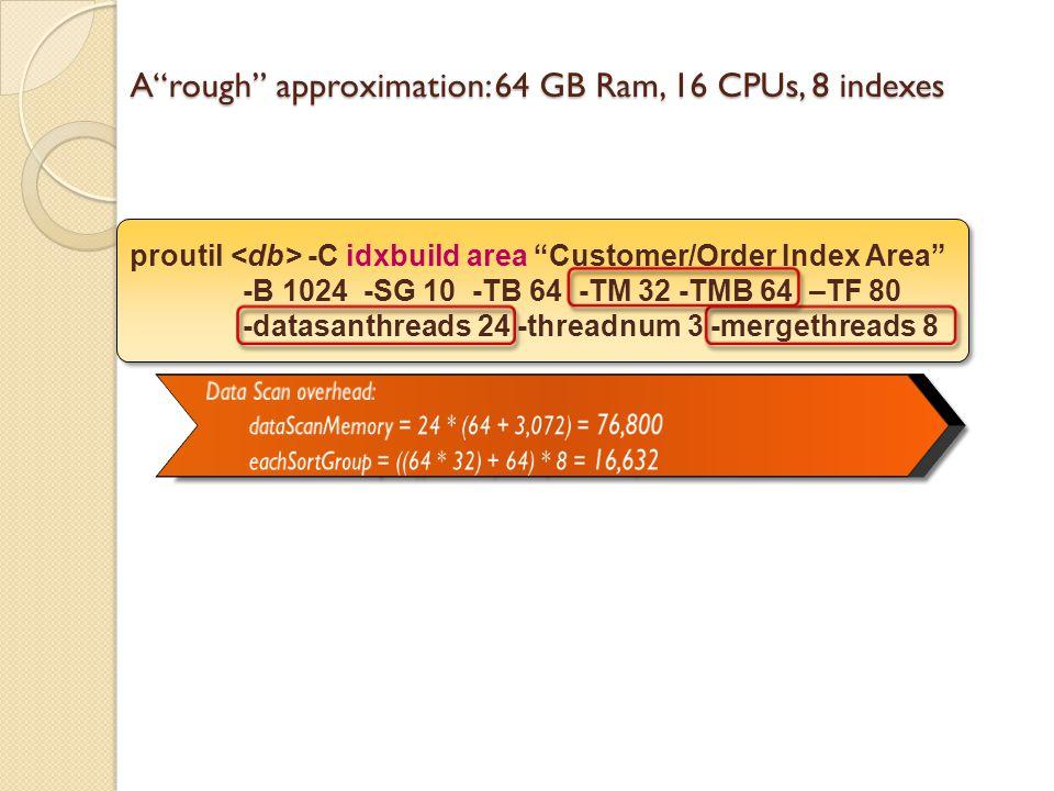 Arough approximation: 64 GB Ram, 16 CPUs, 8 indexes proutil -C idxbuild area Customer/Order Index Area -B 1024 -SG 10 -TB 64 -TM 32 -TMB 64 –TF 80 -datasanthreads 24 -threadnum 3 -mergethreads 8