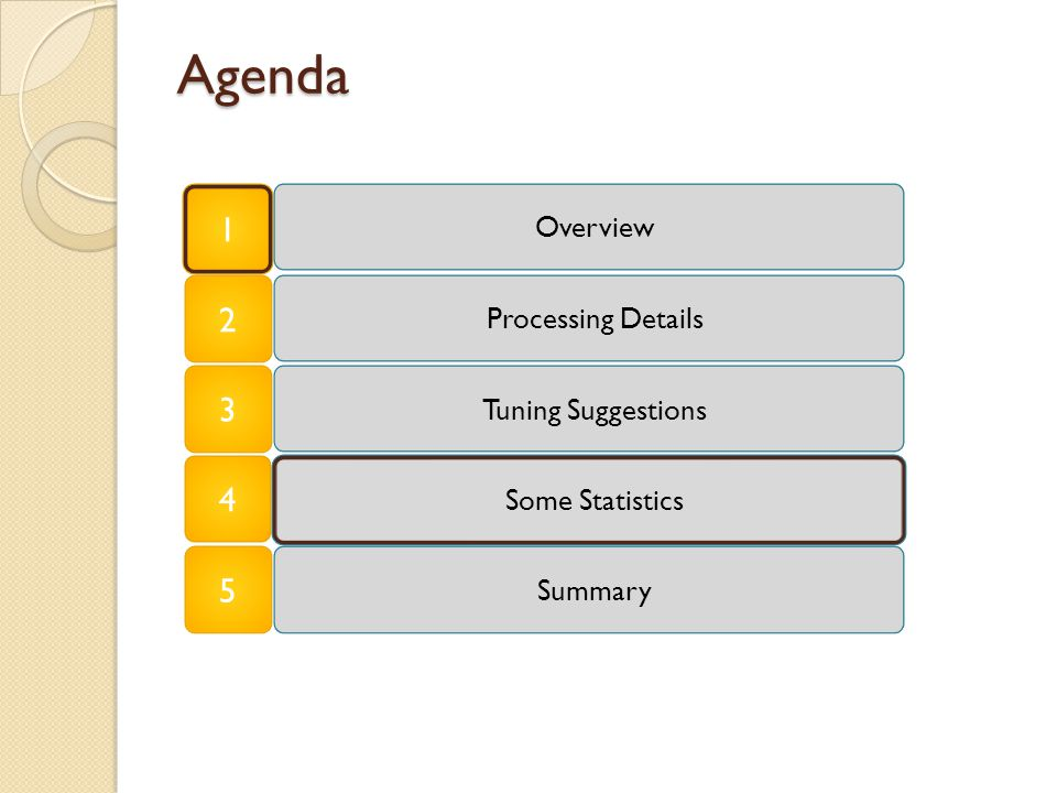 Agenda 1 Some Statistics Overview Tuning Suggestions Processing Details 2 3 4 Summary 5