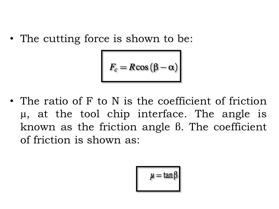 SHEAR ANGLE RELATIONSHIPS M.E Merchant relationship is based upon: – The shear angle adjust itself so that is cutting force is minimum – Maximum shear stress occurs in shear plane.