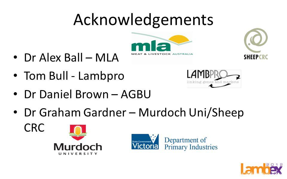 Acknowledgements Dr Alex Ball – MLA Tom Bull - Lambpro Dr Daniel Brown – AGBU Dr Graham Gardner – Murdoch Uni/Sheep CRC