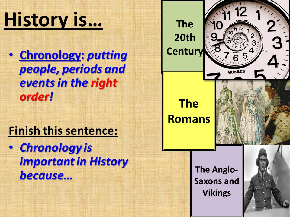 The 20th Century History is… Chronology: putting people, periods and events in the right order! Chronology: putting people, periods and events in the