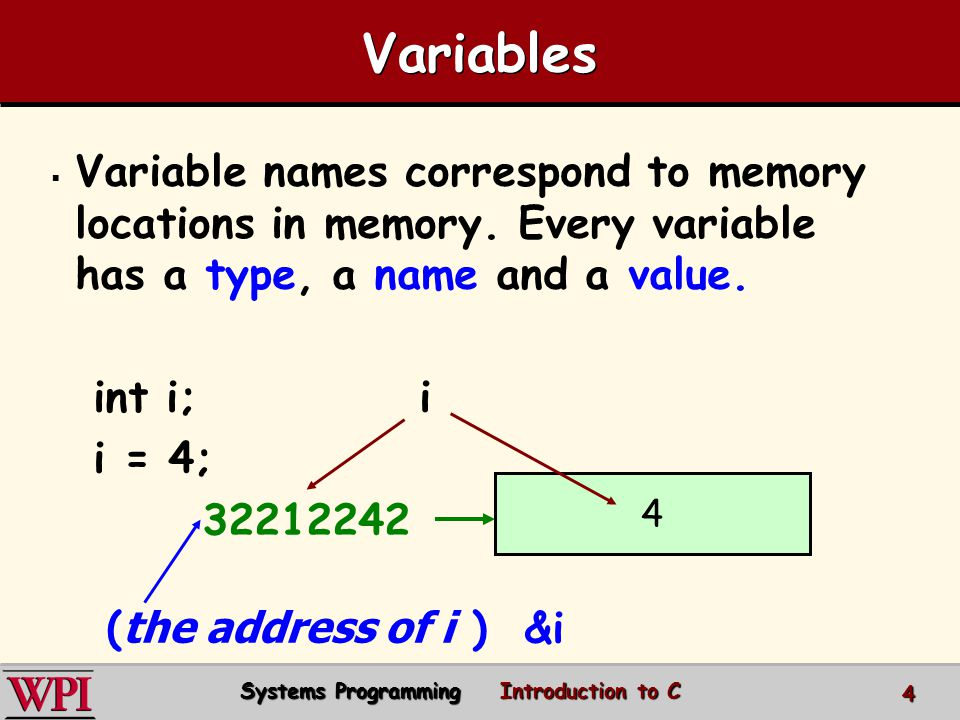 Variables Variable names correspond to memory locations in memory.