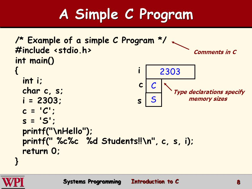 A Simple C Program /* Example of a simple C Program */ #include int main() { i int i; char c, s; i = 2303; s c = C ; s = S ; printf( \nHello ); printf( %c%c %d Students!!\n , c, s, i); return 0; } 2303 C S c Type declarations specify memory sizes Comments in C Systems Programming Introduction to C 8