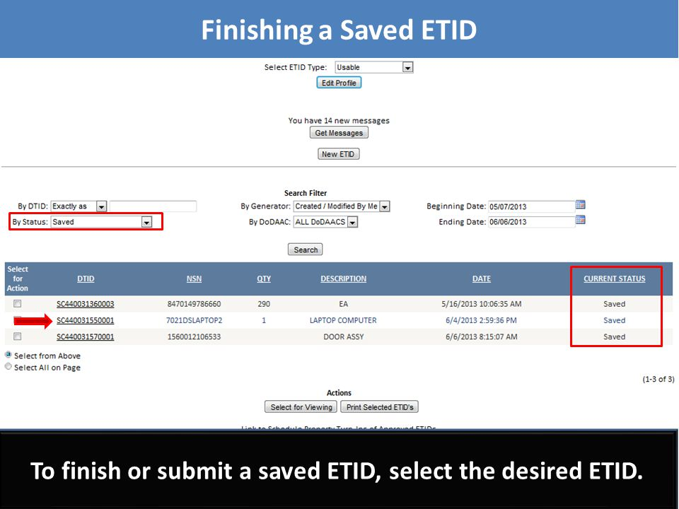 Customers can also print ETIDs in the ETID View screen.