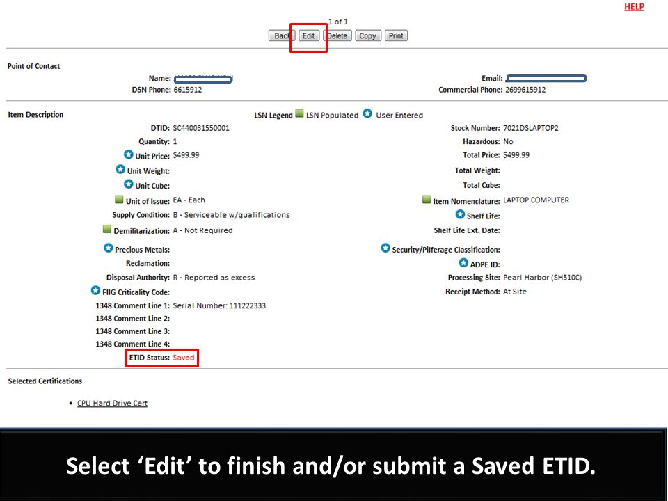 Customers can make edits and select Submit.