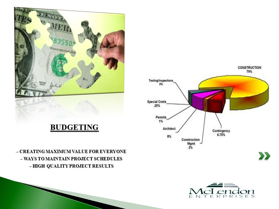 - - CREATING MAXIMUM VALUE FOR EVERYONE - - WAYS TO MAINTAIN PROJECT SCHEDULES - - HIGH QUALITY PROJECT RESULTS BUDGETING