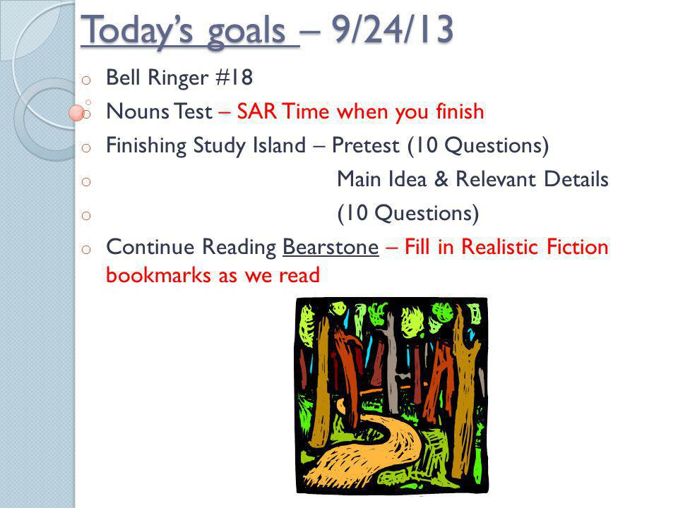 Todays goals – 9/23/13 o Bell Ringer – NONE o Prefix Quiz o Library – Mrs. Gauglers Lesson o Study Island – Main Idea/Supporting Details o Nouns Test