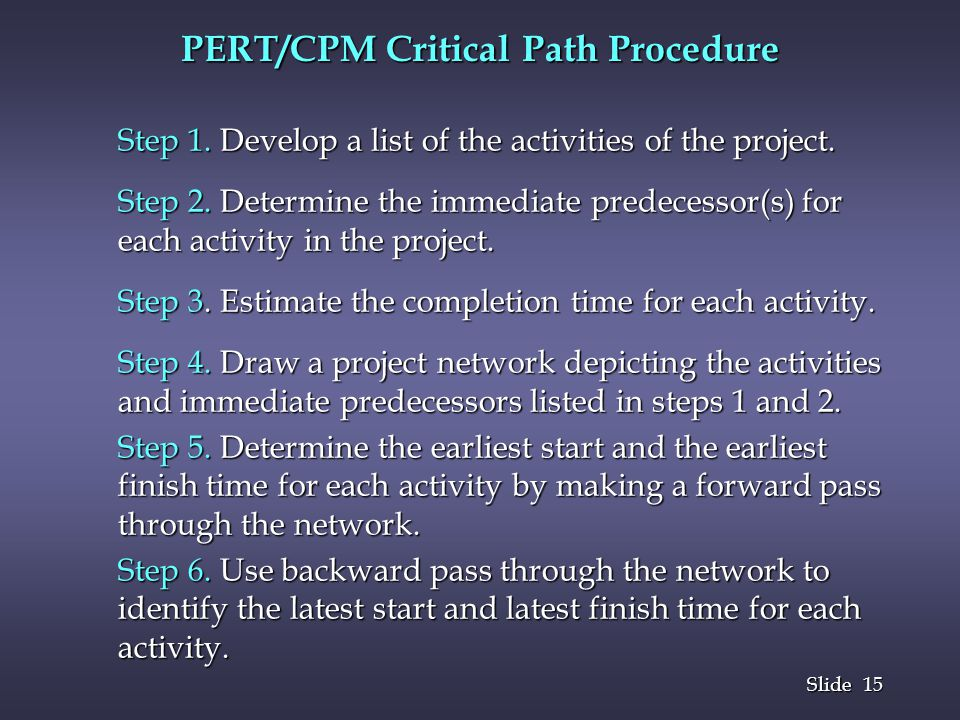 15 Slide PERT/CPM Critical Path Procedure Step 1. Develop a list of the activities of the project. Step 2. Determine the immediate predecessor(s) for