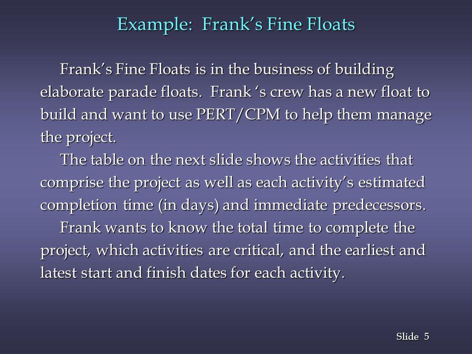 5 5 Slide Example: Franks Fine Floats Franks Fine Floats is in the business of building Franks Fine Floats is in the business of building elaborate pa