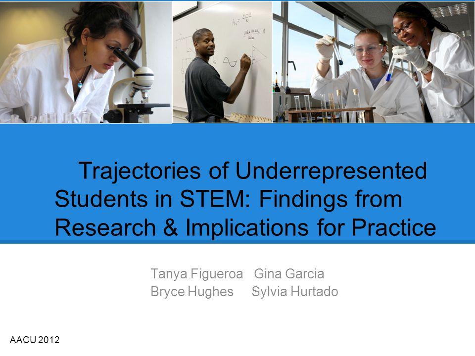 Trajectories of Underrepresented Students in STEM: Findings from Research & Implications for Practice Tanya Figueroa Gina Garcia Bryce Hughes Sylvia Hurtado AACU 2012