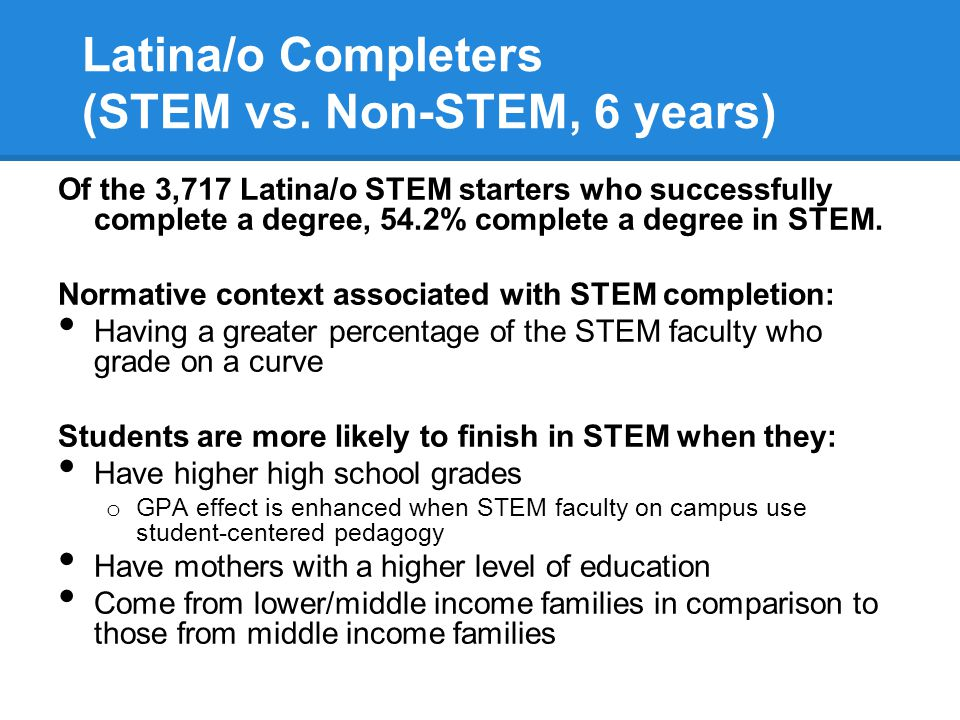 Latina/o Completers (STEM vs.