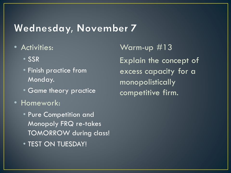 Activities: SSR Finish practice from Monday.